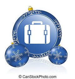 Bag blue christmas balls icon