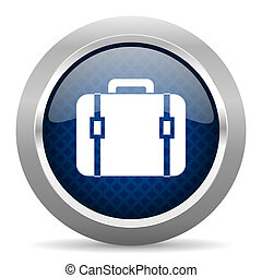 bag blue circle glossy web icon on white background, round button for internet and mobile app