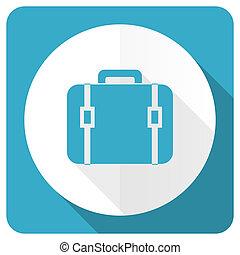 bag blue flat icon luggage sign