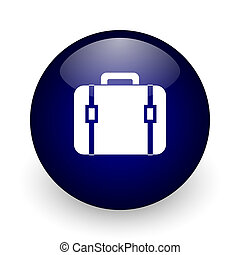 Bag blue glossy ball web icon on white background. Round 3d render button.