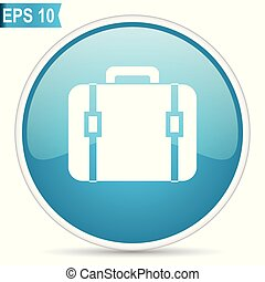 Bag blue glossy round vector icon in eps 10. Editable modern design internet button on white background.
