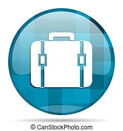 bag blue round modern design internet icon on white background