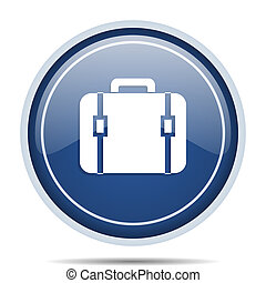 Bag blue round web icon. Circle isolated internet button for webdesign and smartphone applications.