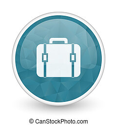 Bag brillant crystal design round blue web icon.
