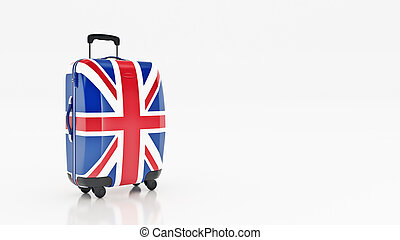 Bag british flag. Flags of the United Kingdom. 3d rendering