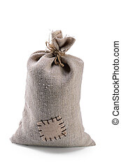 bag coarse fabric with botch on white background with soft shadow