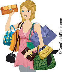 Bag Collector - Illustration of a Woman Carrying an...