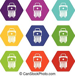 Bag design icons set 9 vector