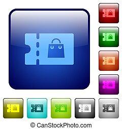 Bag discount coupon color square buttons