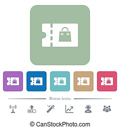 Bag discount coupon flat icons on color rounded square...