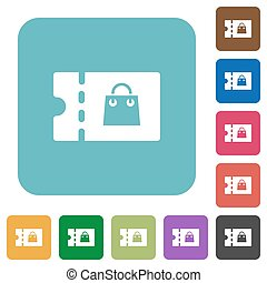Bag discount coupon rounded square flat icons - Bag discount...
