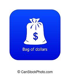 Bag dollar icon blue