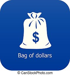 Bag dollar icon blue vector