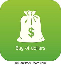 Bag dollar icon green vector
