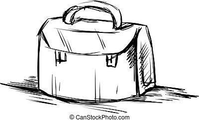 Bag drawing, illustration, vector on white background.