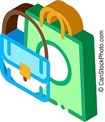 Bag Fashion Style Isometric Icon Vector Illustration