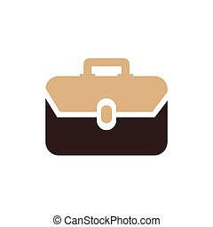 Bag Flat icon and Logo vector brown color