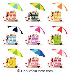 bag for beach with stuff color set illustration