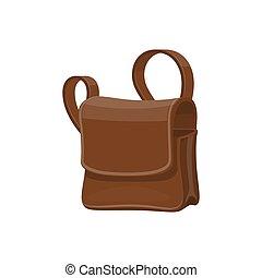 Mailbag, leather brown sack vector isolated icon. Delivering mailman bag, postman transportation item
