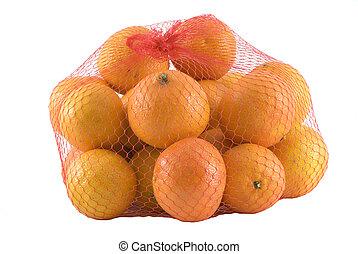 bag full of fresh mandarins