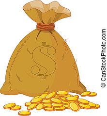 Bag full of golden coin