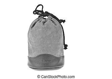 Bag, gray velvet pouch isolated on white background