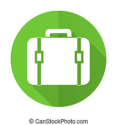 bag green flat icon luggage sign
