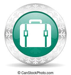 bag green icon, christmas button, luggage sign