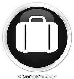 Bag icon black glossy round button