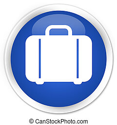 Bag icon blue glossy round button