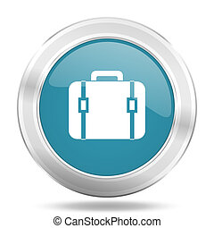 bag icon, blue round glossy metallic button, web and mobile app design illustration