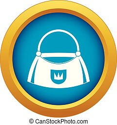 Bag icon blue vector isolated