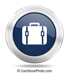 bag icon, dark blue round metallic internet button, web and mobile app illustration