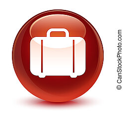 Bag icon glassy brown round button