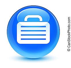 Bag icon glassy cyan blue round button