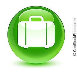 Bag icon glassy green round button