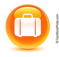 Bag icon glassy orange round button