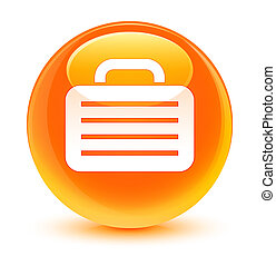 Bag icon glassy orange round button