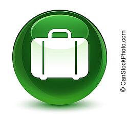 Bag icon glassy soft green round button