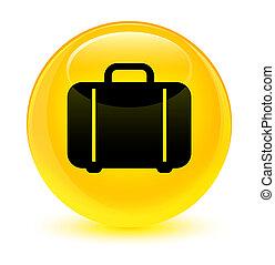Bag icon glassy yellow round button