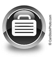 Bag icon glossy black round button