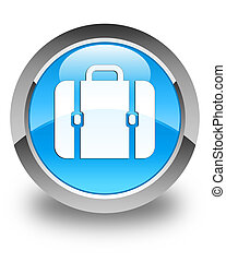 Bag icon glossy cyan blue round button