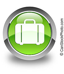 Bag icon glossy green round button