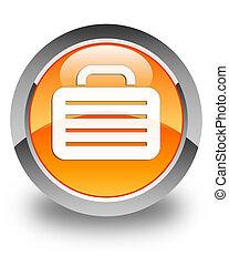 Bag icon glossy orange round button 2