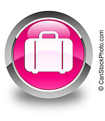 Bag icon glossy pink round button