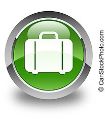 Bag icon glossy soft green round button