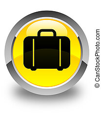 Bag icon glossy yellow round button