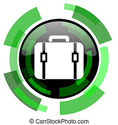 bag icon, green modern design isolated button, web and mobile app design illustration
