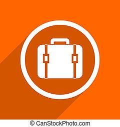bag icon. Orange flat button. Web and mobile app design illustration