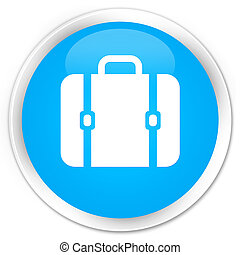 Bag icon premium cyan blue round button